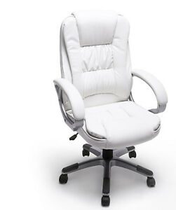 Ergonomic Executive Chair Office Furniture Computer Desk Swivel Armrest White
