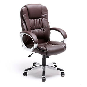 Ergonomic Executive Chair Office Furniture Computer Desk Swivel Armrest Brown