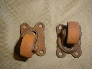 2 Vintage Victor 3 Industrial Antique Cast Iron Casters Swivel Wheels