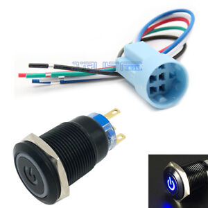 19mm Socket Plug 12v Car Led Power Push Button Metal On off Blue Switch Latching