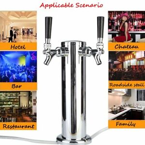 Chrome Double Stainless Steel Tower Beer Kegerator Tap Duel Faucet Draft Dual
