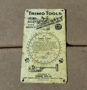Vintage Trimo Lathe Drill Pipefitter Plumber Angle Chart Metal