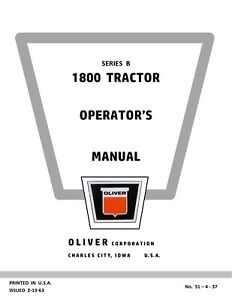 New Oliver 1800 b Tractor Operators Manual Reproduction