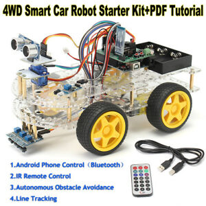 4wd Smart Car Robot Starter Ir Remote Bluetooth Kit Programmable For Arduino