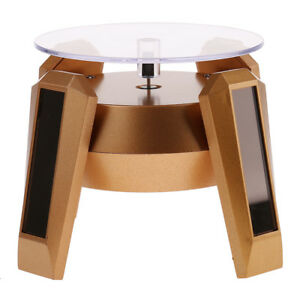 Turntable Rotating Jewelry Watch Phone Ring Display Stand Solar golden Base
