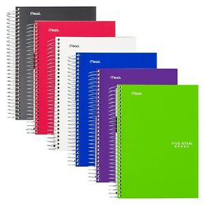 Five Star Spiral Notebooks 5 Subject College Ruled Paper 180 Sheets 9 New