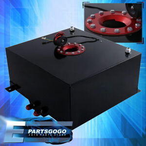 Black Aluminum Red Cap Car Fuel Cell Tank 10 Gallon 40 Liters Gauge Sender