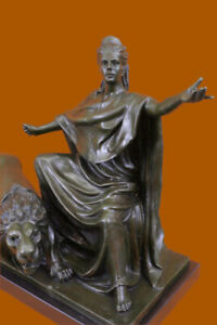 50 Lbs Britannia Goddess Bronze Sculpture With Lion Hot Cast Marble Figurine