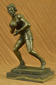 Art Deco 100 Bronze Marble Base Sculpture Statue Figurine Rugby Football Player