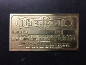 New Thermoil Etched Brass Tag Antique Gas Engine Hit Miss