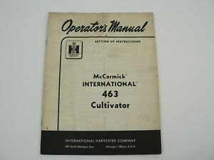 Mccormick 463 Cultivator Owner Manual Set Up Instructions International 1962