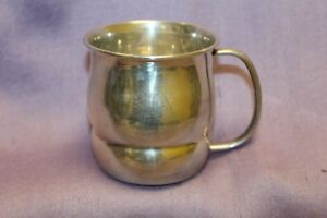 Silver Plate Plated Baby Cup With Handle Shiny 2 5 Tall