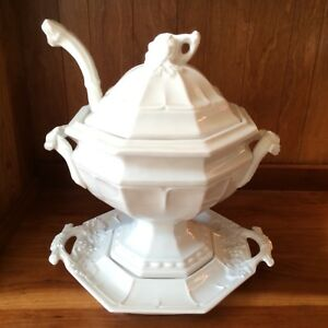 Red Cliff Ironstone Soup Tureen With Lid Under Platter Ladle Grape Pattern