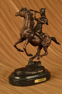 Bronze Remington War Art Deco Native American Indian Riding Horse Sculpture Gift