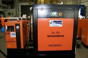 Air max 50hp new Industrial Rotary Screw Compressor W dryer filters 240 Tank