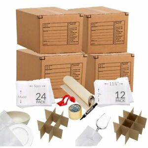Kitchen Moving Box Supplies Kit 1 4 Boxes With Dish glass Inserts W