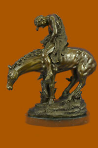 Huge Sale Vitaleh Indian On Horse Tribute To Remington Bronze Sculpture Sb