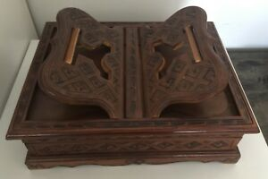 Carved Wood Book Stand Display Vintage Indonesia With Box Handmade