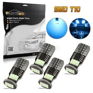 4x Ice Blue Error Free T10 Led Bulbs For Car Interior Dome Lights