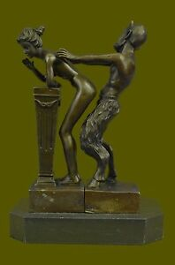 Huge Sale Quality Bergman Naked Satyr Nude Girl Bronze Sculpture Figurine