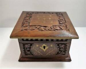 Vintage Square Carved Wood Box Hinged Lid Removable Tray Brass Inlay 2 Keys