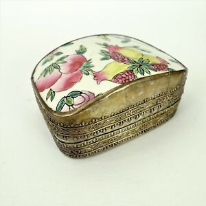 Antique Pomegranate Porcelain In Silver Plated Trinket Box Floral Shard Box 4 5