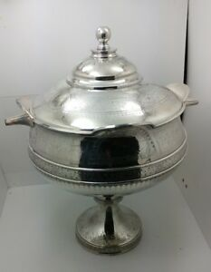 Antique Victorian Silverplate Soup Tureen Bowl Simpson Hall Miller
