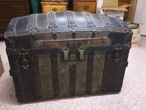 Antique Trunk George Burroughs Cross Slatted Round Top Antique Trunk