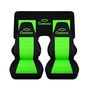 Front And Rear Chevy Camaro Coupe Black And Lime Green Seat Covers 2010 2015 Abf