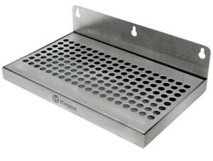 10 Inch Beer Beverage Drip Tray Durable Stainless Steel Wall Mount No Drain