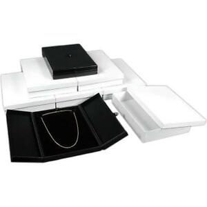 6 Large Black Necklace Snap Lid Gift Boxes Display Box