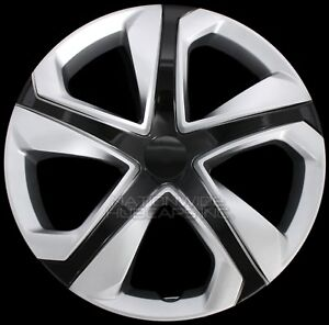 15 Set Of 4 Silver Black Wheel Covers Snap On Hub Caps Fit R15 Tire