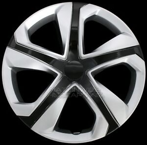 15 Set Of 4 Silver Black Wheel Covers Snap On Hub Caps Fit R15 Tire Steel Rim