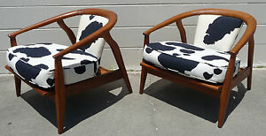 Pair Of Mid Century Modern Milo Baughman Style Walnut Lounge Chairs