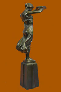 Statue Sculpture Art Deco Style Bronze Signed Xmass Gift 4 Your Love Figurine