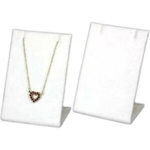 White Velvet Earring Necklace Pendant Chain Showcase Display Stand Kit 36 Pcs