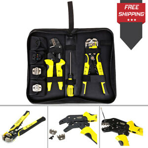 Ratchet Crimping Tool Wire Strippers Terminals Pliers Kit Multi Functional Paron
