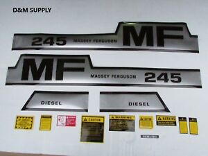 Massey Ferguson 245 Tractor Decal Set With Caution Kit