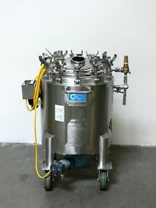 Dci 100 Liter Stainless Steel Jacketed Reactor W Bottom Sterimixer Rated 45 Psi