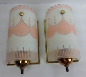 Vtg Art Deco Frosted Pair Pink White Glass Slip Shade Wall Sconces Light Fixture