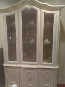 Vintage White French Provincial China Cabinet Hutch
