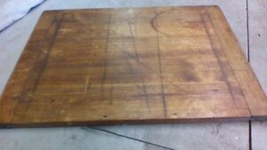 Large Antique Vtg Hooiser Cabinet Bread Cutting Chopping Board Wooden Primitive