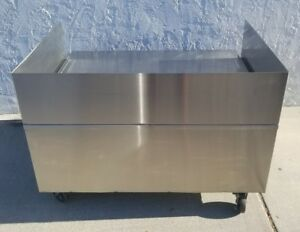 Stainless Steel Equipment Stand On Casters W removable Guard 48 W storage Shelf