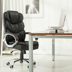 High Back Leather Executive Office Desk Task Computer Pc Chair With Arms