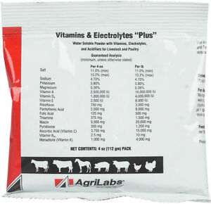 12 Packs 4 Oz Agrilabs Poultry Swine Cattle Vitamins And Electrolyte Plus