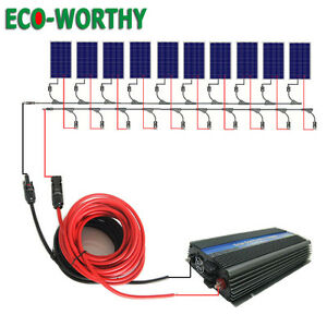 Eco 1kw Grid Tie Solar Panel Kit 10x100w Solar Panel 1000w Inverter Home Power