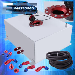Aluminum 21 Gallon Fuel Cell Tank W Red Cap Braided Nylon Oil Feed Line