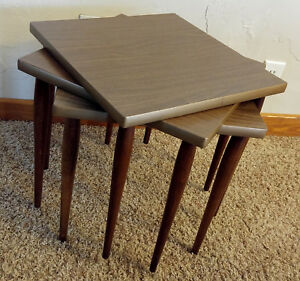3 Excellent Vintage Mid Century Mcm Stacking Nesting Wooden Square End Tables