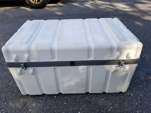 Parker Rugged Hard Plastic Shipping Case W wheels Hinged Lid 38x24x20 Excel Cond