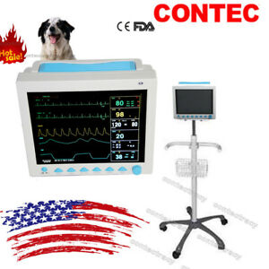 Vet Veterinary Patient Monitor 6 Parameter ecg nibp pr spo2 temp resp trolley us